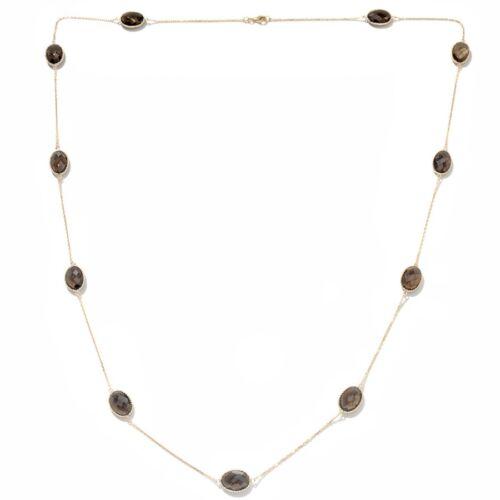 "Technibond Checkerboard Smoky Quartz Gemstone Chain 14K Gold Clad Silver 36/"""
