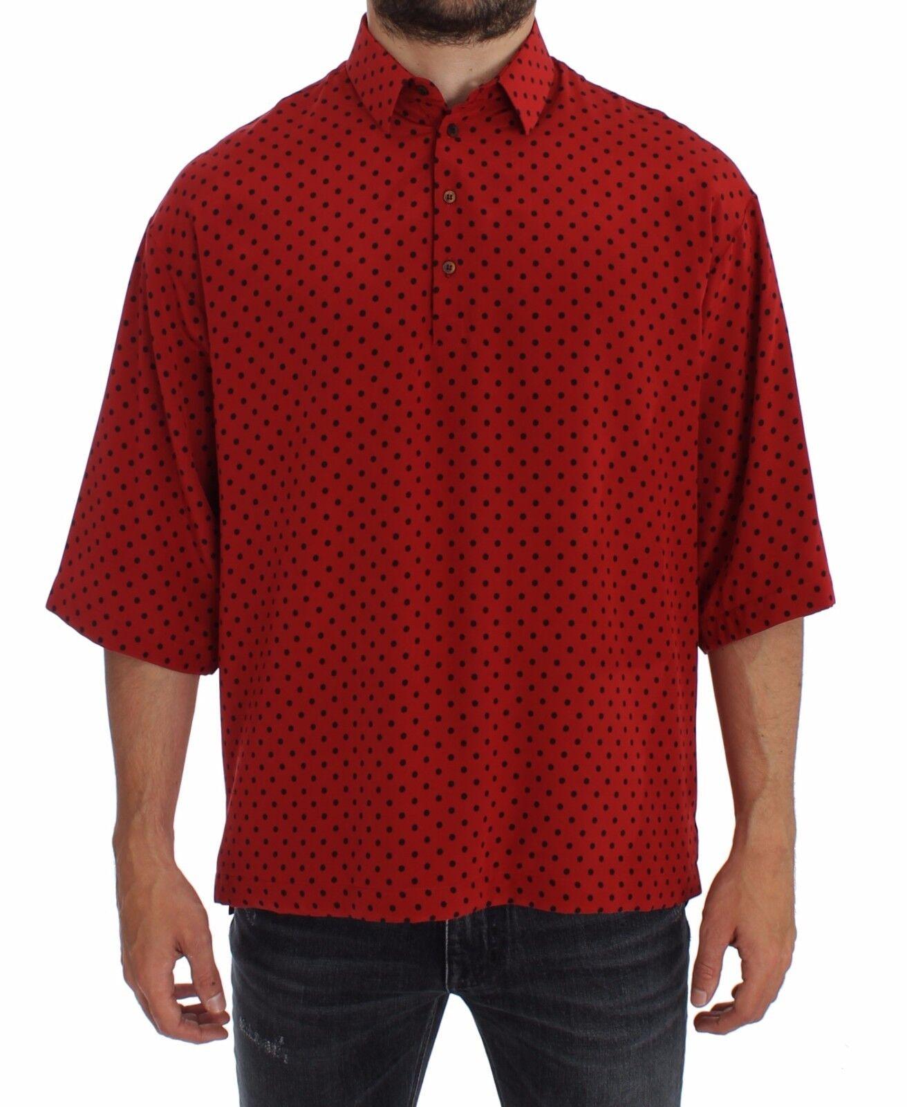 Nuova con Etichetta Dolce & Gabbana Rosso Nero a Pois Seta Polo T-Shirt Maglia