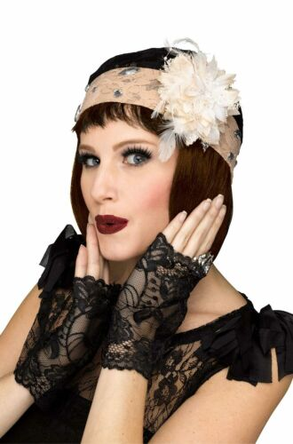 Brand New 1920/'s Flapper Cloche and Gloves Set Costume Accessory