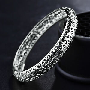 Hollow-Clouds-Breeze-Silver-White-Gold-Filled-Women-Lady-Crystal-Bracelet-Bangle