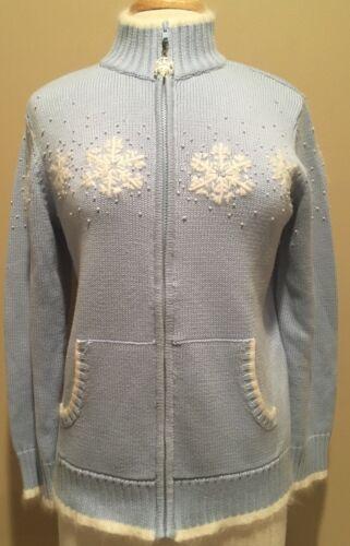 Factory Sz S Lyseblå Quacker Hvid Zip Snefnug Sweater Cardigan Front Tipped qdPTdO