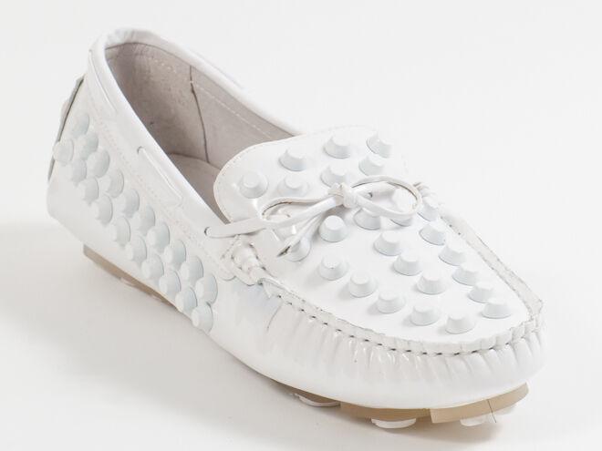 New  Francesco V. White Patent Pelle Moccasin Size 36 US 6