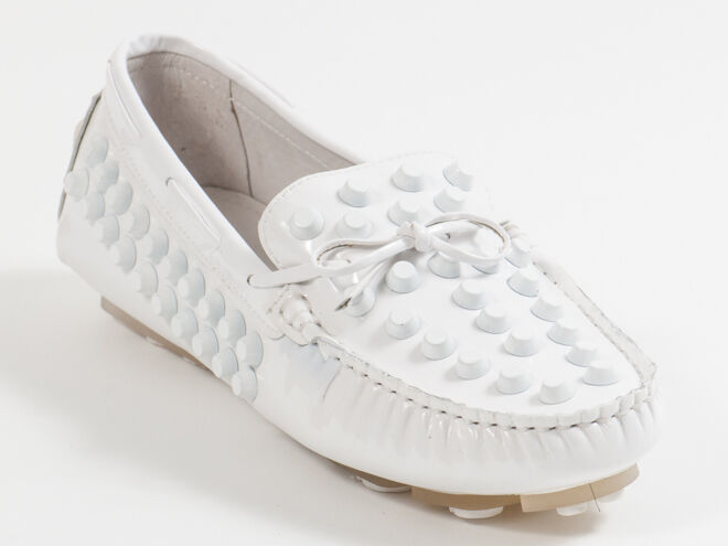 New  Francesco V. White Patent Leather Moccasin Size 38 US 8