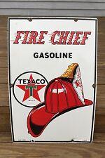 Original 1953 TEXACO FIRE CHIEF GASOLINE Porcelain Gas Station Pump Sign EXC!