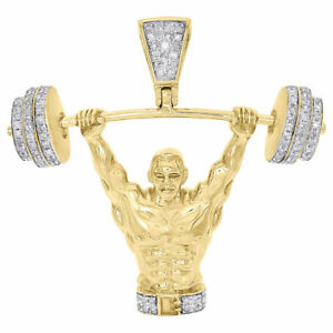 10k Yellow Gold Bodybuilder Sports Pendant Necklace