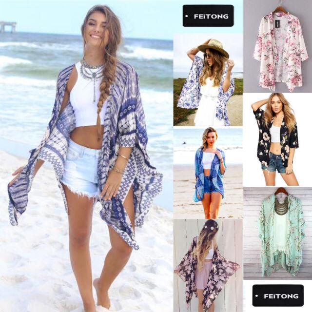 Women Boho Vintage Print Chiffon Loose Shawl Kimono Cardigan Top Cover up Blouse