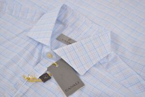 NWT-Current-1934-Canali-Size-Large-Short-Sleeve-Polo-Shirt-in-Blue-Plaid-Italy