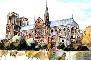 New-Art-Postcard-NOTRE-DAME-Cathedral-Church-Paris-France-99O