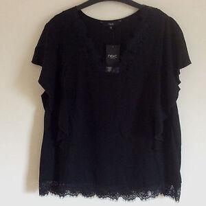 Women-039-s-Next-Black-Ruffle-Lace-T-shirt-Top-Size-8-10-12-amp-18-BNWT