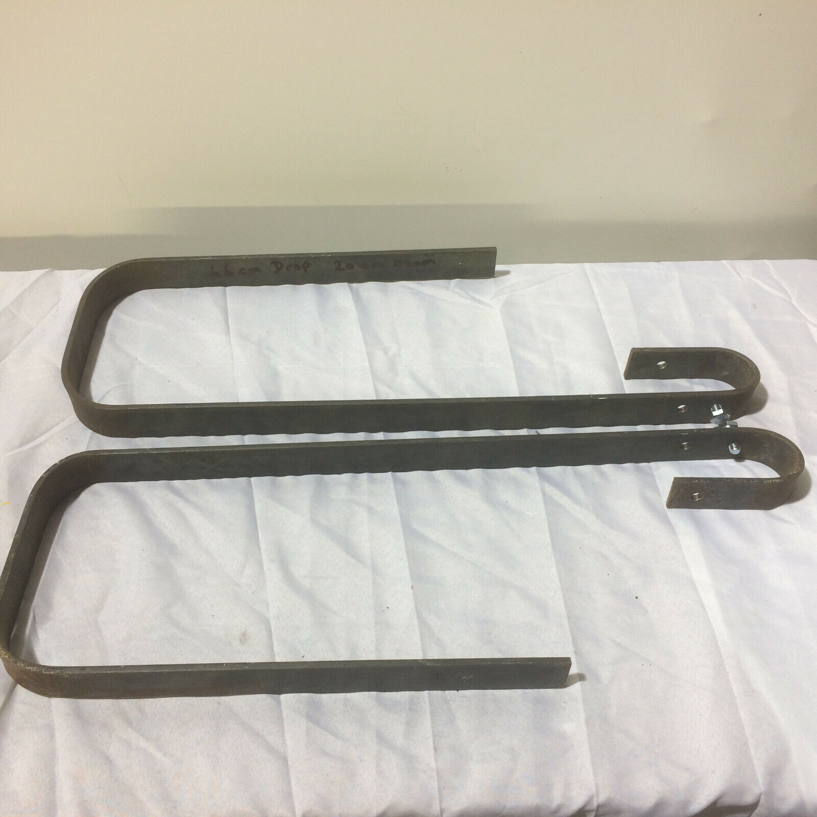 Pair of Mild Steel Hanging Brackets - suspend a scaffold bar from 20cm wood beam