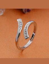 Pretty Silver Plated Rhinestone Adjustable Wrap Ring