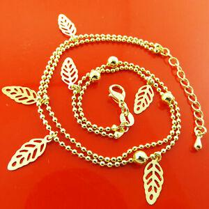 Anklet Bracelet Real 18k Yellow /& White GF Gold Ladies Solid Belcher Link Design