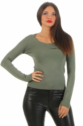 4793 Damen Feinstrick Pullover Pulli Strickpullover Langarm tiefen V-Ausschnitt