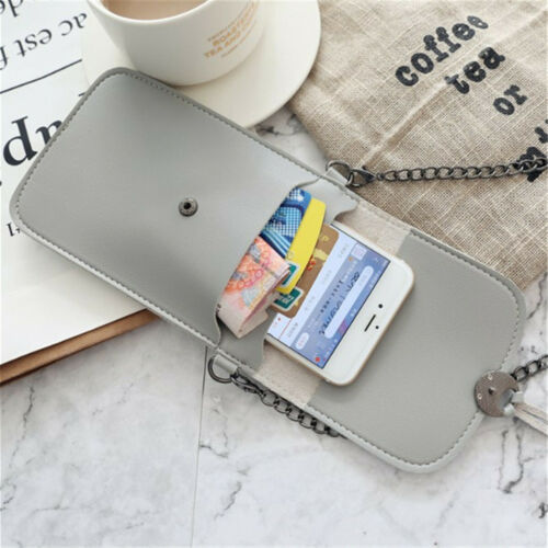Mini Mobile Phone Bag With Back Side Clear Touching Screen Window PU Leather Bag
