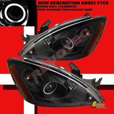 04 05 06 Mitsubishi Lancer CCFL Halo Angel Eye Projector Headlights Black 1 Pair