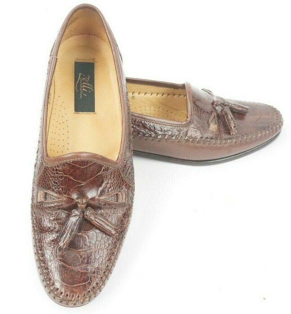 Zelli  Brown Exotic Ostrich Claw Slip On Tassel Loafers shoes US Men's 8 M