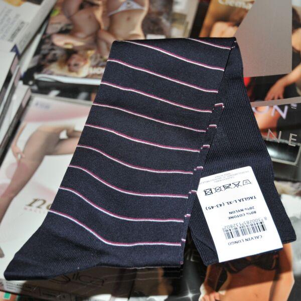 1 Paio Calze Lunghe Calvin Uomo Punto Socks For Man Cotone Egiziano 43 - 45