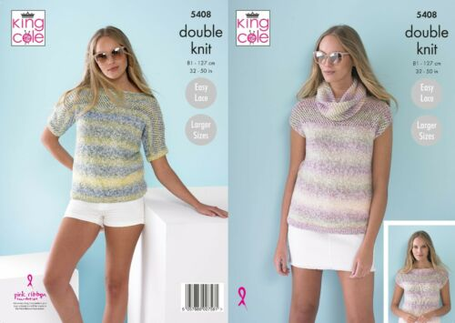 32-50inch Not the finished items KINGCOLE 5408 Adult DK Knitting Pattern