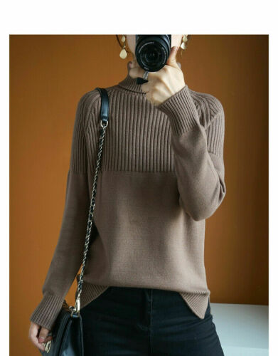 Women Cashmere Sweater Turtleneck Knitting Pullovers Thicken Lady Warm Sweater