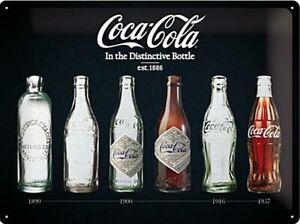 Coca-Cola-Flasche-Evolution-Sonderedition-Grosse-Gepraegtes-Metall-Zeichen-Na