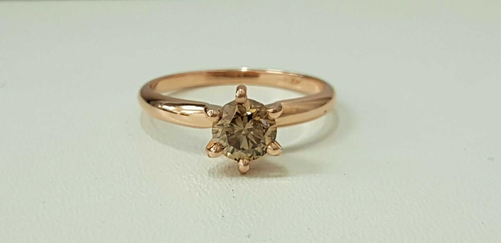 0.75ct ROUND CUT solitaire diamond engagement Ring 14K pink gold FANCY COLOR VS2