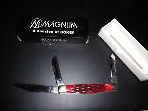 Sc101 Magnum By Boker Bonsai Stockman Red Bone Handles Three Bladed Knife Ebay