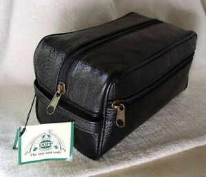 DOPP-Black-Leather-Travel-Toiletry-Kit-Overnight-Shave-Case-Bag-NEW-NWT-6945a