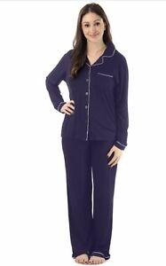 NWT  followme Button Down Pajamas Pant Set Black or NAVY 1X Plus ... 6a6ef7e25