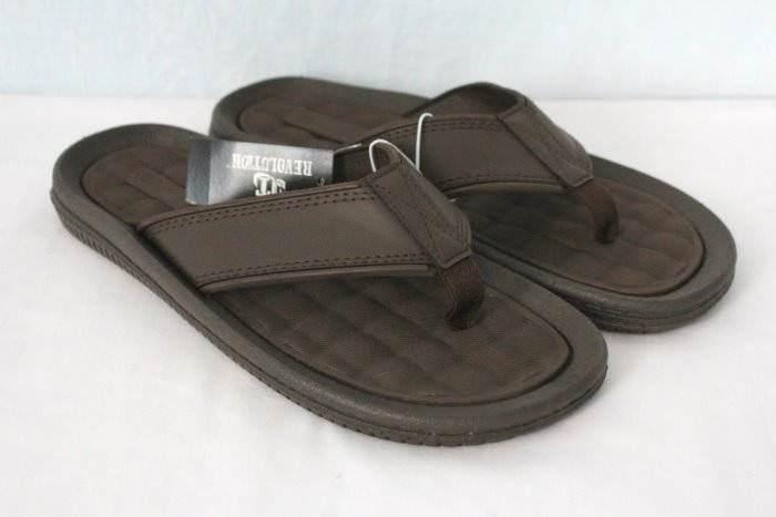 9a7656ed626ff9 NEW Mens Flip Flops Size Medium Medium Medium 9 Brown Sandals Summer Shoes  Pool Beach a764fa