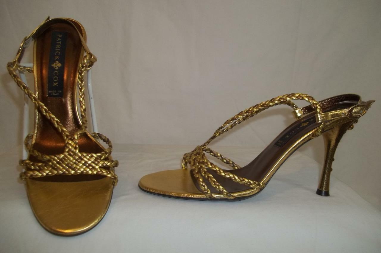 PATRICK COX gold-Copper Woven Leather Slingback FLEUR DE LIS High Heel shoes 39