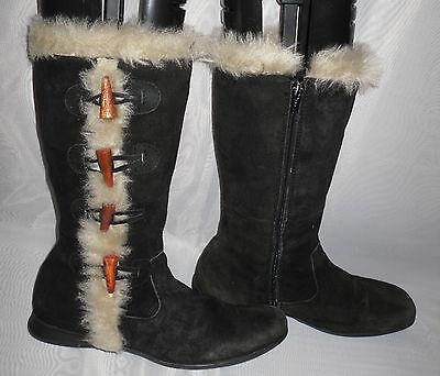 Para Mujeres Zapatos Negro Cremallera Imitación Gamuza TouchTone Mitad de Pantorrilla Botas Talla: 3/36 (WB180)