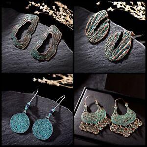 4-Pairs-Vintage-Bronze-Earrings-Wedding-Party-Engrave-Ethnic-Women-Earrings