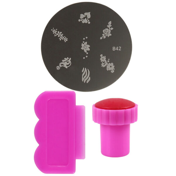 New Pink DIY Nail Printing Template + Scraper + Stamp for Manicure / Nail Art