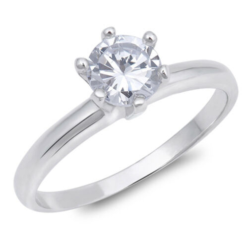 White CZ Elegant Round Solitaire Ring New .925 Sterling Silver Band Sizes 4-10