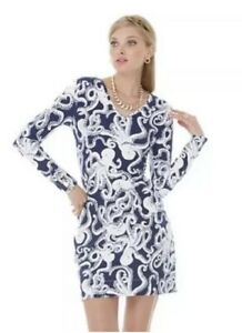 5e464ffd415d50 2. Lilly Pulitzer Navy Blue White Octopus Dress Size XS French Terry ...