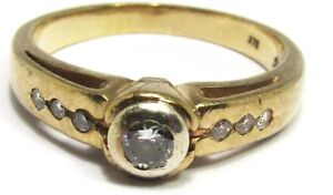 100% Genuine 9k Solid Yellow Gold 0.16cts Natural Diamond Ring Sz 6.5 US