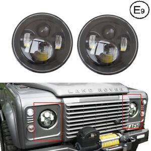 Black-PAIR-7-034-LED-Projector-Headlight-For-Land-Rover-Defender-for-Touring