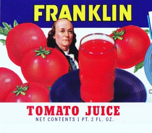 In. Franklin Franklin Tomato Juice Vintage Can Label Franklin Brokerage /& Whse