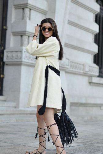 Woman Coat Zara 40 con Beautiful cintura nera L Cream Kimono ZTtd1qxtw