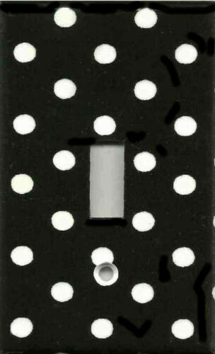 BLACK AND WHITE POLKA DOTS HOME DECOR LIGHT SWITCH PLATES AND OUTLETS