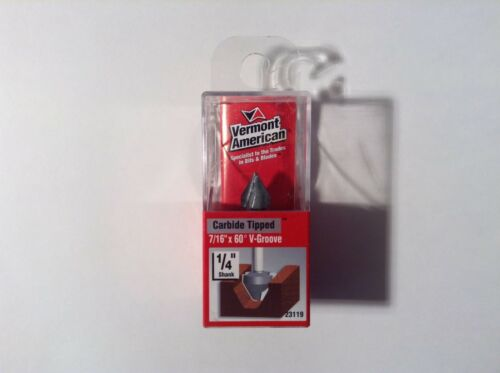 """7//16/"""" x 60° V-Groove Router Bit Vermont American 23119 Carbide Tipped"""
