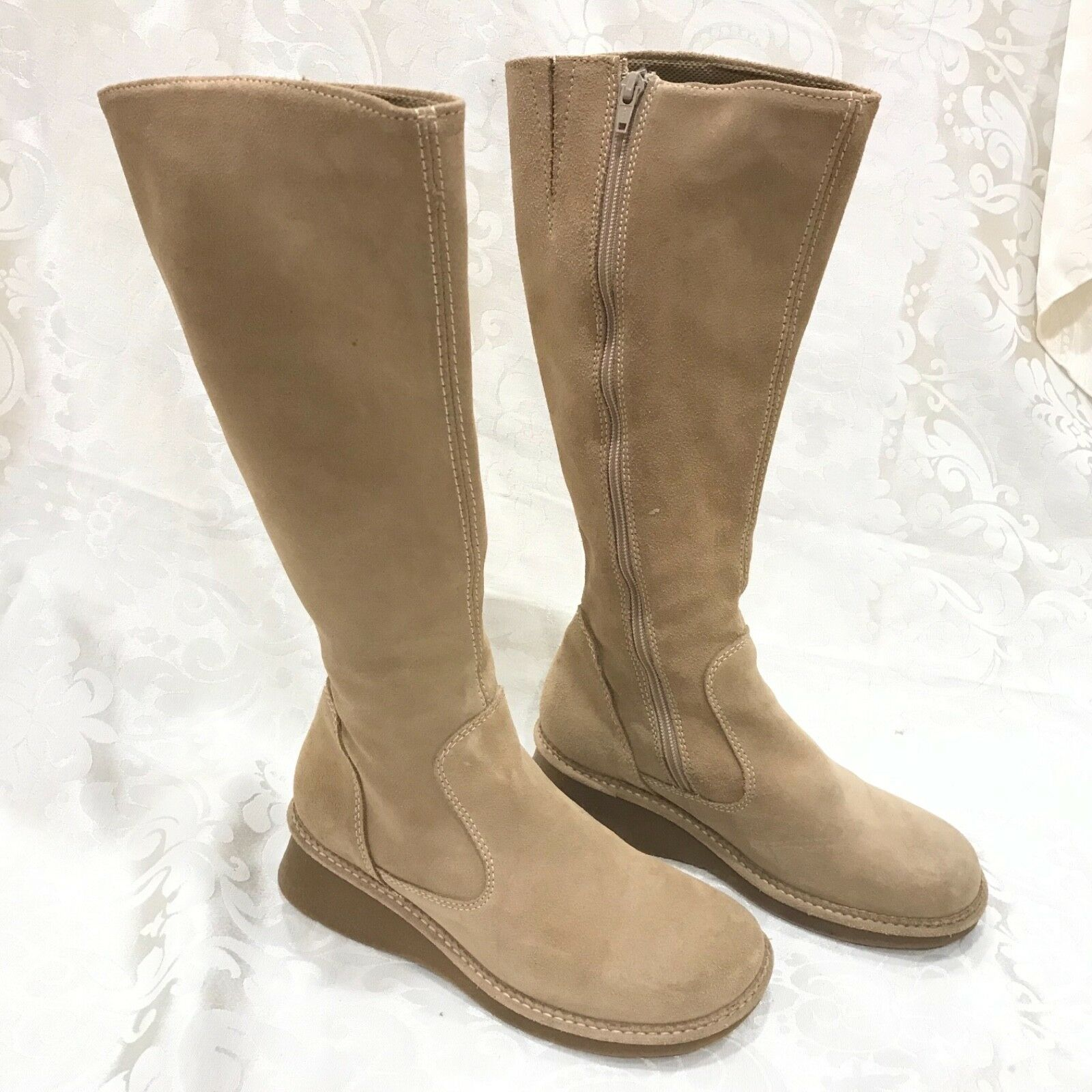 American Eagle suede leather tan brown Calf Knee High High High Boots 8 women  189 6f2d6b