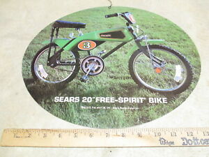 """Kelloggs cereal box 1976 store display sign Sears Free Spirit 20"""" racer bicycle"""