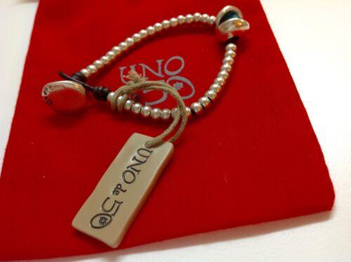 "NWT Uno de 50 Silvertone Beaded Bracelet w// Turquoise Resin Stone  6.50/"" $89"
