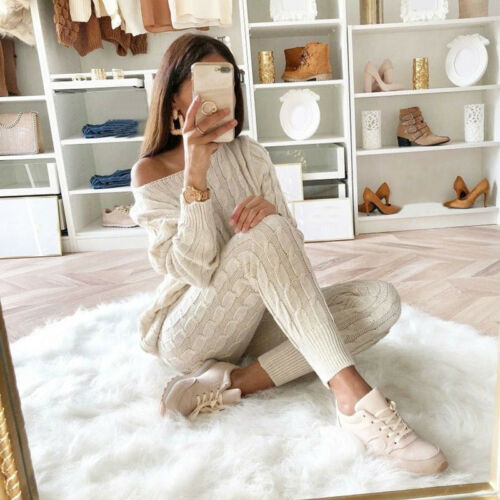 Women Matching Sets Outfit Knit Sweater Tops and Pant Suit Two Piece Set O0F5