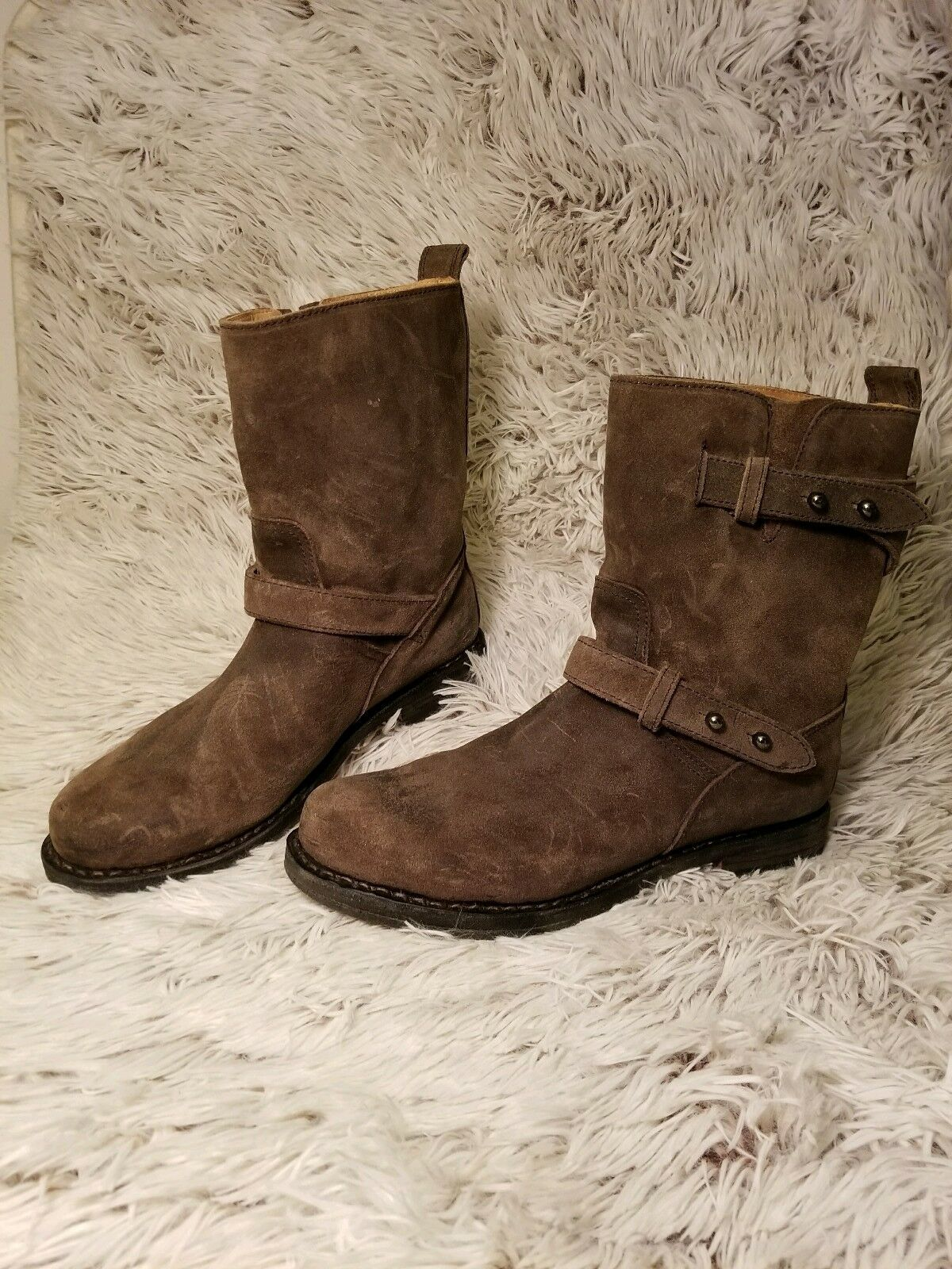 RAG & BONE Brown Green Waxed Suede Leather Moto Boots Womens sz 9