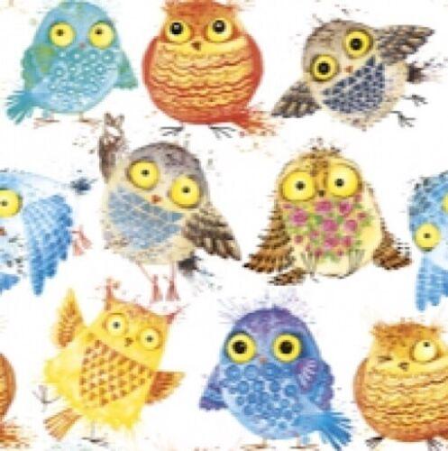 4 x Serviettes en papier pour découpage artisanat Scrapbooks-Crazy Owl