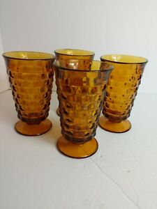 Vintage-Indiana-Amber-Glass-Diamond-Point-Pedestal-Drinking-Glasses-Set-of-4