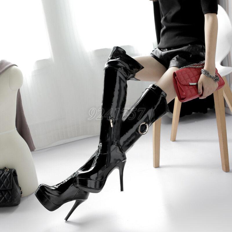 Sexy Damenschuhe Overkneestiefel Kniehohe Stiefel Stiefel Lackleder Gr 33-47 48
