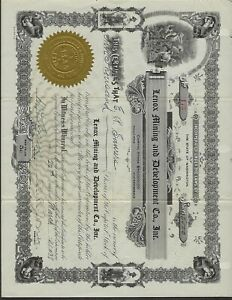 MINING-STOCK-CERTIFICATE-WASHINGTON-STATE-LENOX-MINING-AND-DEVELPMENT-CO